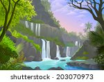 a serene view of waterfalls ... | Shutterstock .eps vector #203070973