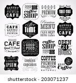 retro coffee  labels and... | Shutterstock . vector #203071237