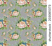 floral colorful roses flowers... | Shutterstock . vector #203085373