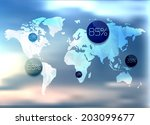 polygonal world map and... | Shutterstock . vector #203099677