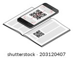 A smart phone scanning a QR code on a magazine page.