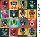 vintage super heroes poster set ... | Shutterstock .eps vector #203126893