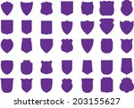 vector purple shields set  35... | Shutterstock .eps vector #203155627