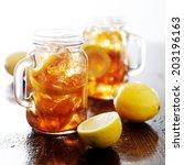 southern sweet tea in a rustic... | Shutterstock . vector #203196163