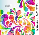 abstract colorful arc drop... | Shutterstock .eps vector #203221723