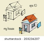 hand draw house. vector...