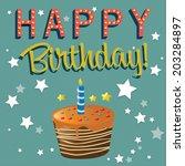happy birthday illustration... | Shutterstock .eps vector #203284897