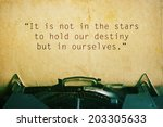 Small photo of life quote. Inspirational quote by William Shakespeare on vintage paper background. Motivational background.