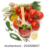 tomato sauce in a wooden spoon... | Shutterstock . vector #203308837