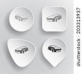 car. white flat vector buttons... | Shutterstock .eps vector #203313937
