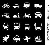 white transport icons   Shutterstock .eps vector #203323177