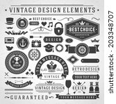 vintage vector design elements. ... | Shutterstock .eps vector #203348707