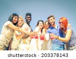 group of happy friends drinking ...   Shutterstock . vector #203378143