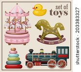 set of vintage toys. vector
