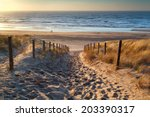 path to the sea and couple on... | Shutterstock . vector #203390317