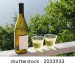 White wine and plastic glasses on deck railing overlooking water. - stock photo