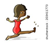 cartoon happy woman kicking | Shutterstock .eps vector #203411773