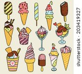cute set of ice creams.   Shutterstock .eps vector #203419327