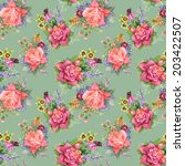 watercolor floral roses... | Shutterstock .eps vector #203422507