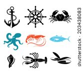 Seafood icons. Crab, lobster, fish, octopus. - stock vector