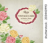 vintage floral background with... | Shutterstock .eps vector #203443993