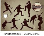 baseball players in vector... | Shutterstock .eps vector #203473543