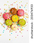 sweet colorful macaroons | Shutterstock . vector #203476933
