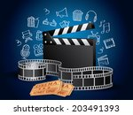 realistic movie elements with... | Shutterstock .eps vector #203491393
