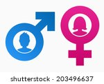 gender symbols with heads of... | Shutterstock .eps vector #203496637