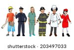 children wearing future job... | Shutterstock . vector #203497033