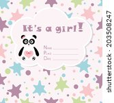 baby girl arrival card. baby... | Shutterstock .eps vector #203508247