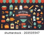 food icons and illustrations  ... | Shutterstock .eps vector #203535547