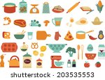 food icons and illustrations  ... | Shutterstock .eps vector #203535553