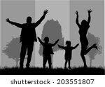 family silhouettes | Shutterstock .eps vector #203551807