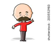 cartoon bald man with idea | Shutterstock .eps vector #203552983
