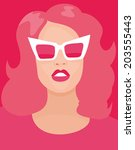 portrait of a woman in pink... | Shutterstock .eps vector #203555443