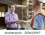 customer shaking hands with... | Shutterstock . vector #203615047