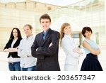 group of friendly...   Shutterstock . vector #203657347