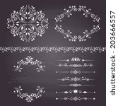 floral design elements set ... | Shutterstock .eps vector #203666557