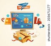 online shopping concept. vector ... | Shutterstock .eps vector #203671177