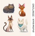 Cat Characters. Cartoon Vector...