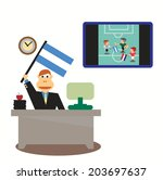 businessman with argentina flag ... | Shutterstock .eps vector #203697637
