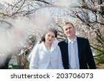 bride and groom at wedding day... | Shutterstock . vector #203706073