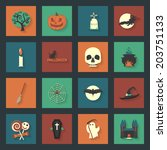 halloween flat icons set | Shutterstock .eps vector #203751133