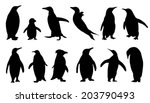 Penguin Silhouettes On The...
