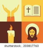 Vector illustration icon set of Jesus: Prayer, Bible, Candle, God