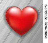 volume red heart on a gray... | Shutterstock .eps vector #203830693