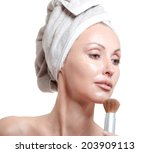 the beautiful young woman in... | Shutterstock . vector #203909113