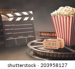 objects related to the cinema... | Shutterstock . vector #203958127