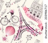 Paris symbols seamless pattern. Romantic travel in Paris. Vector  - stock vector